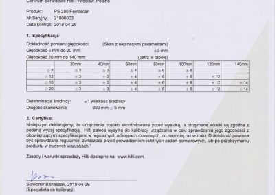 Certyfikat kalibracji skanera 2019-2020 002